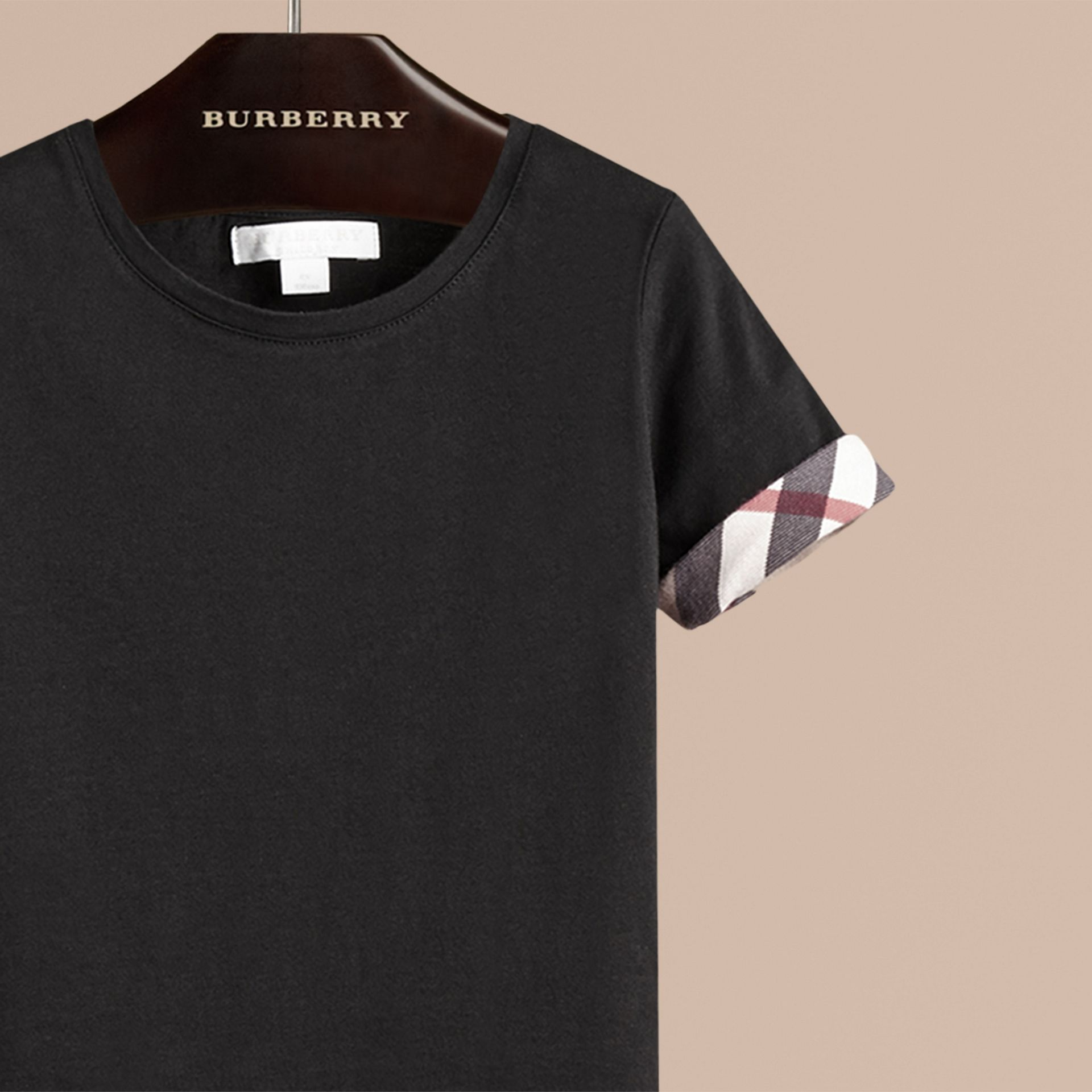 Check Detail Cotton T-shirt in Black - Girl | Burberry - gallery image 2