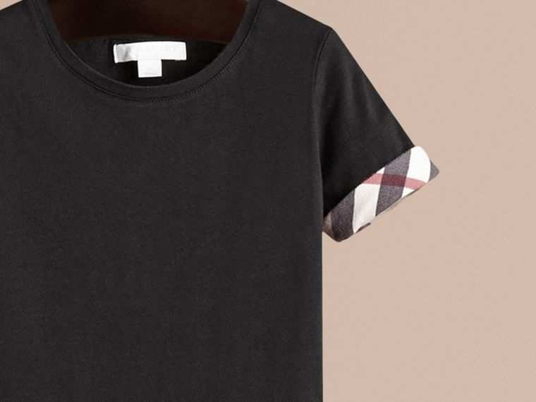 Check Detail Cotton T-shirt in Black - Girl | Burberry - cell image 1