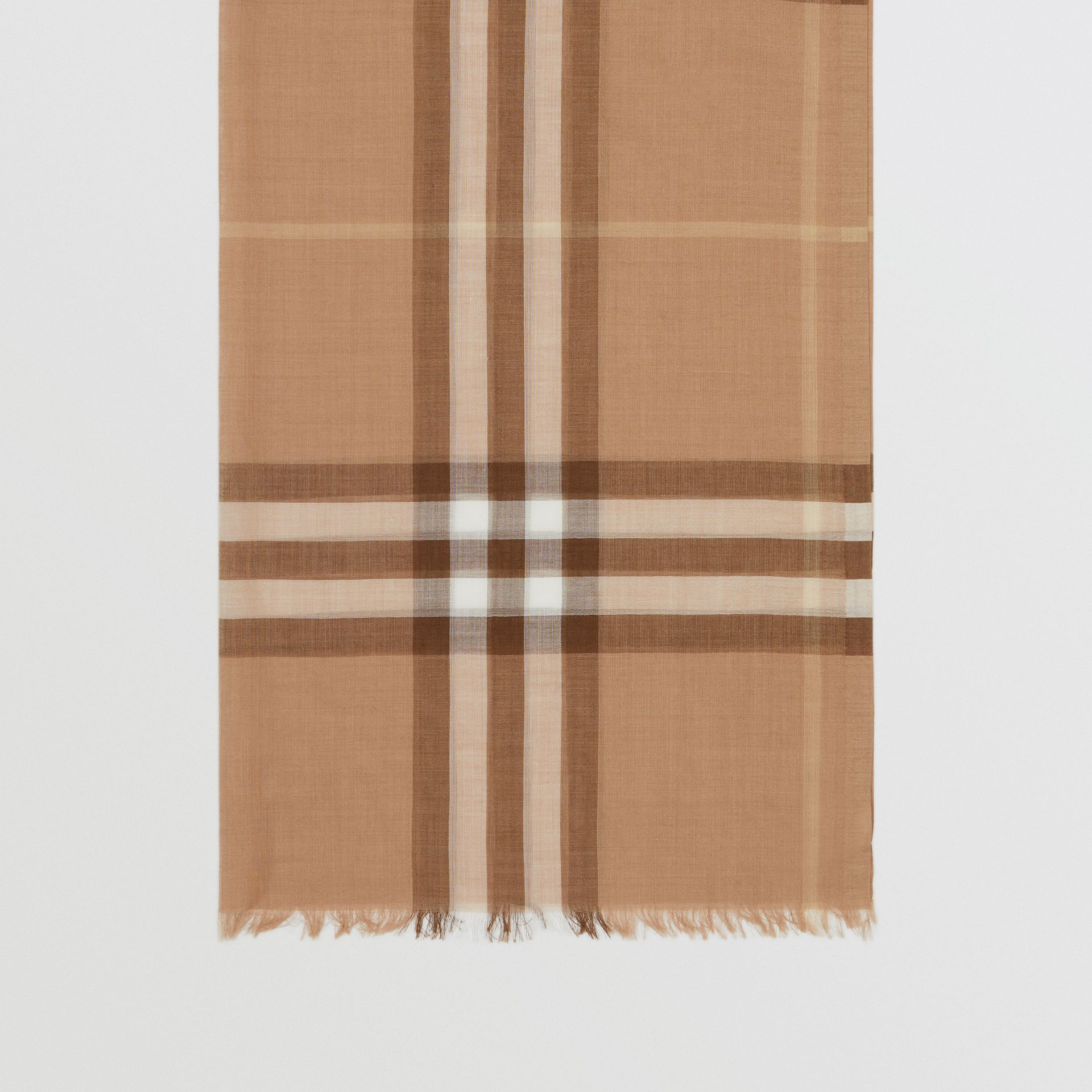 Lightweight Check Wool Silk Scarf in Mid Camel | Burberry - gallery image 4
