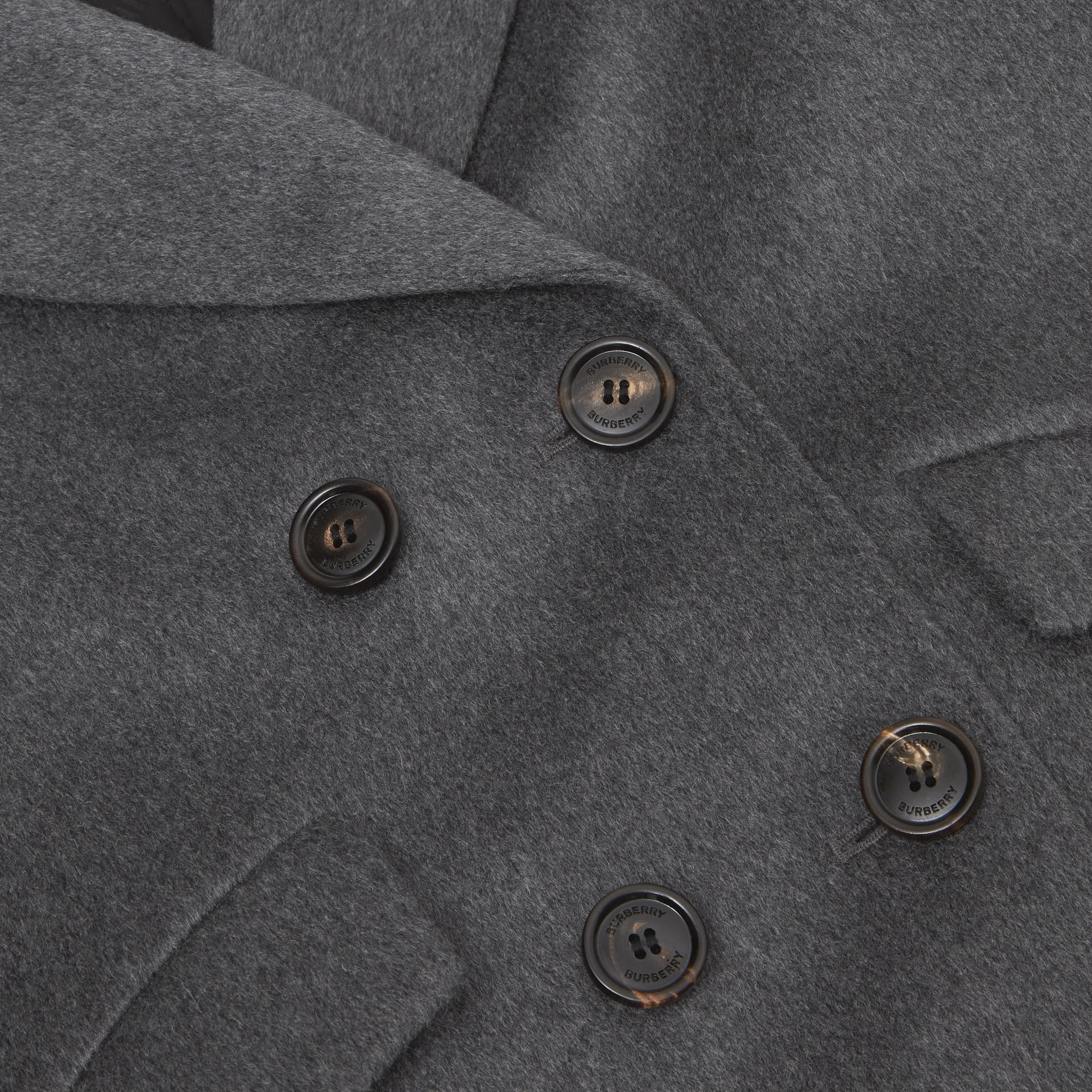 Contrast Collar Cashmere Tailored Coat in Grey Melange | Burberry - gallery image 1