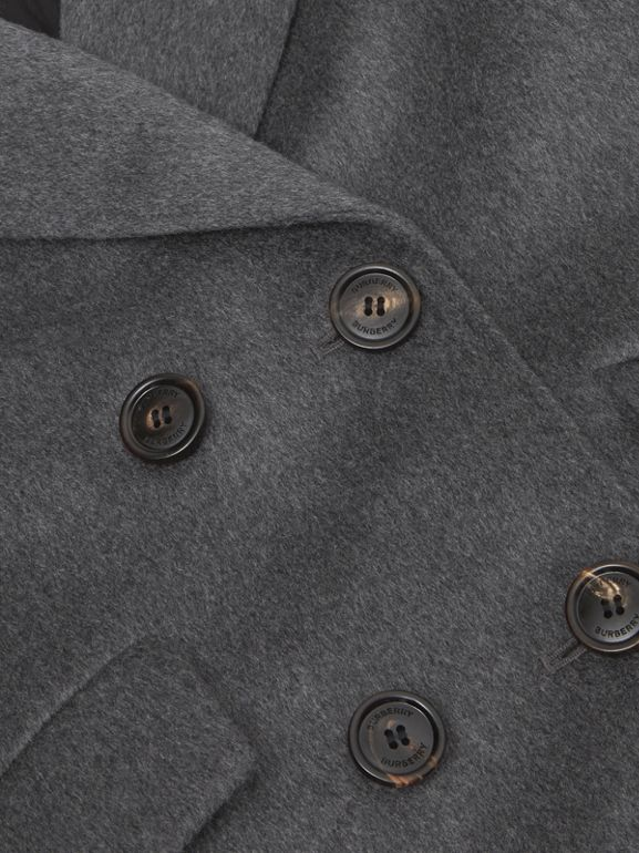 Contrast Collar Cashmere Tailored Coat in Grey Melange | Burberry - cell image 1
