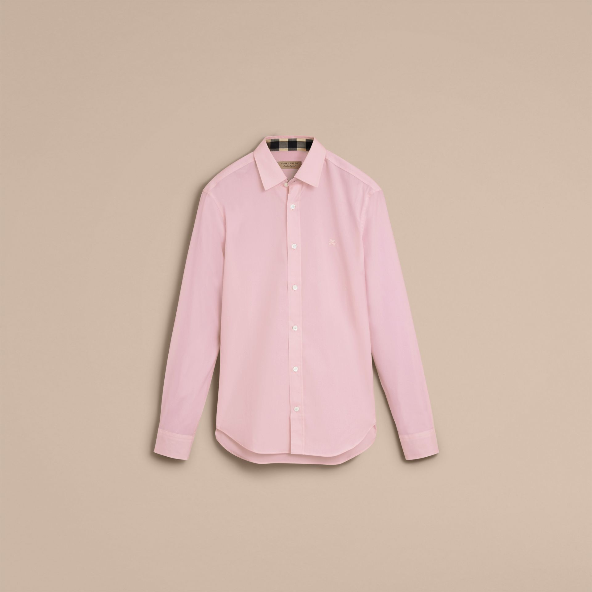Check Detail Stretch Cotton Poplin Shirt in Pale Pink - Men | Burberry - gallery image 4