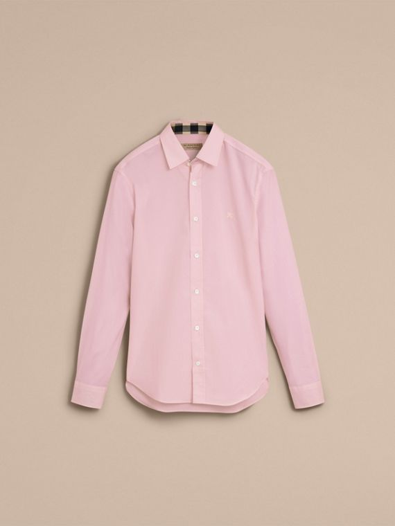 Check Detail Stretch Cotton Poplin Shirt in Pale Pink - Men | Burberry - cell image 3