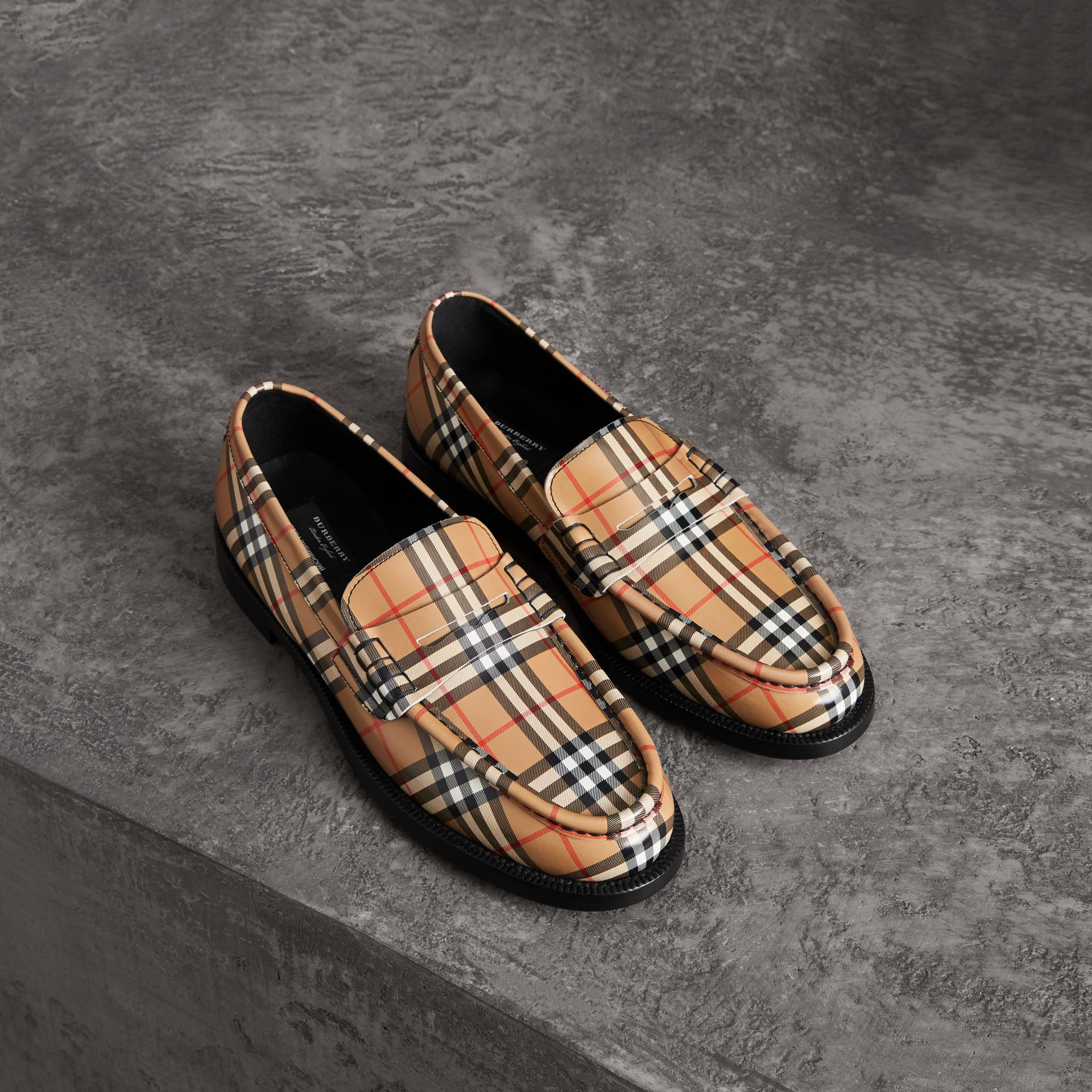 Gosha x Burberry Check Leather Loafers in Antique Yellow - Men | Burberry Australia - gallery image 0