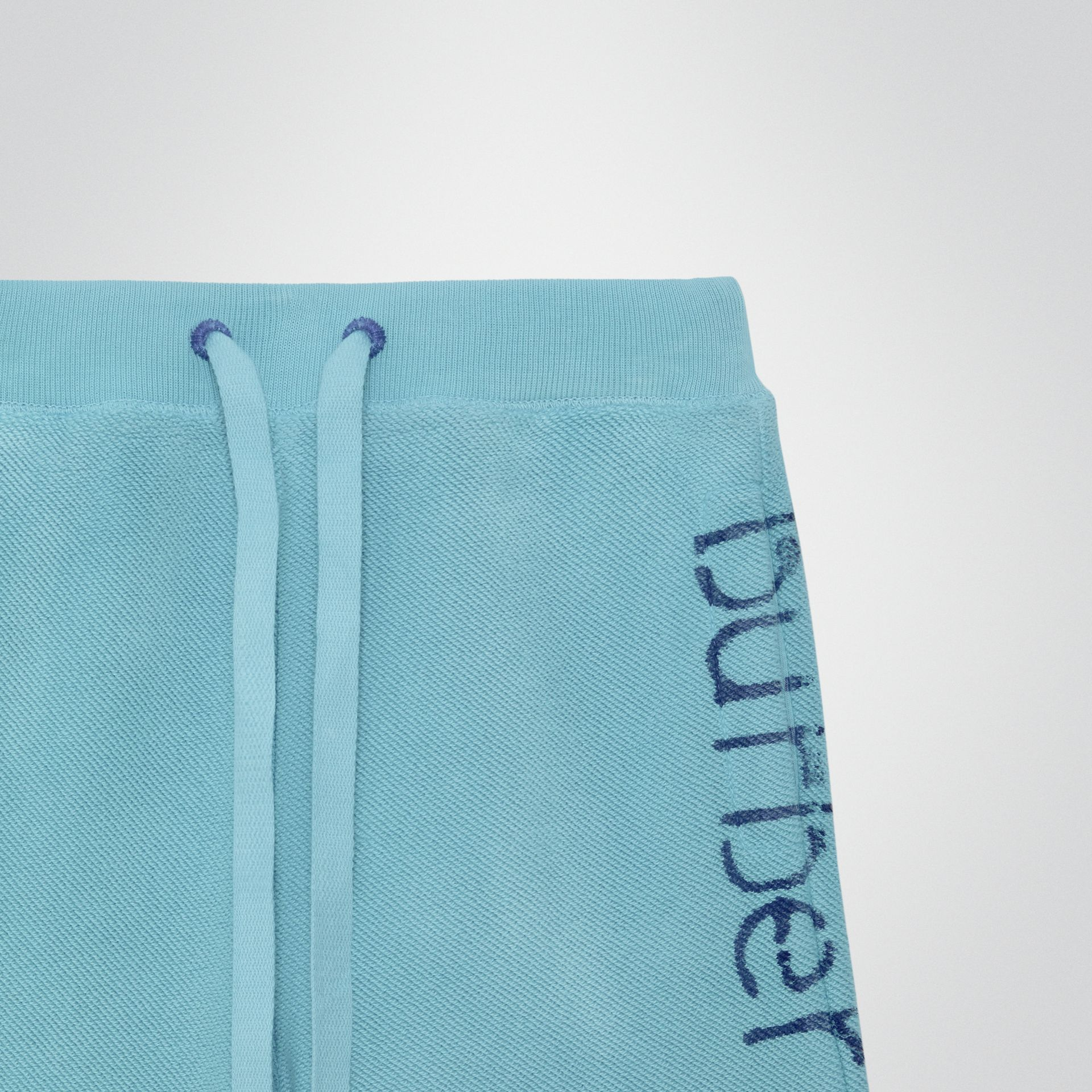 Stencil Logo Print Cotton Drawcord Shorts in Bright Cyan Blue - Children | Burberry - gallery image 4