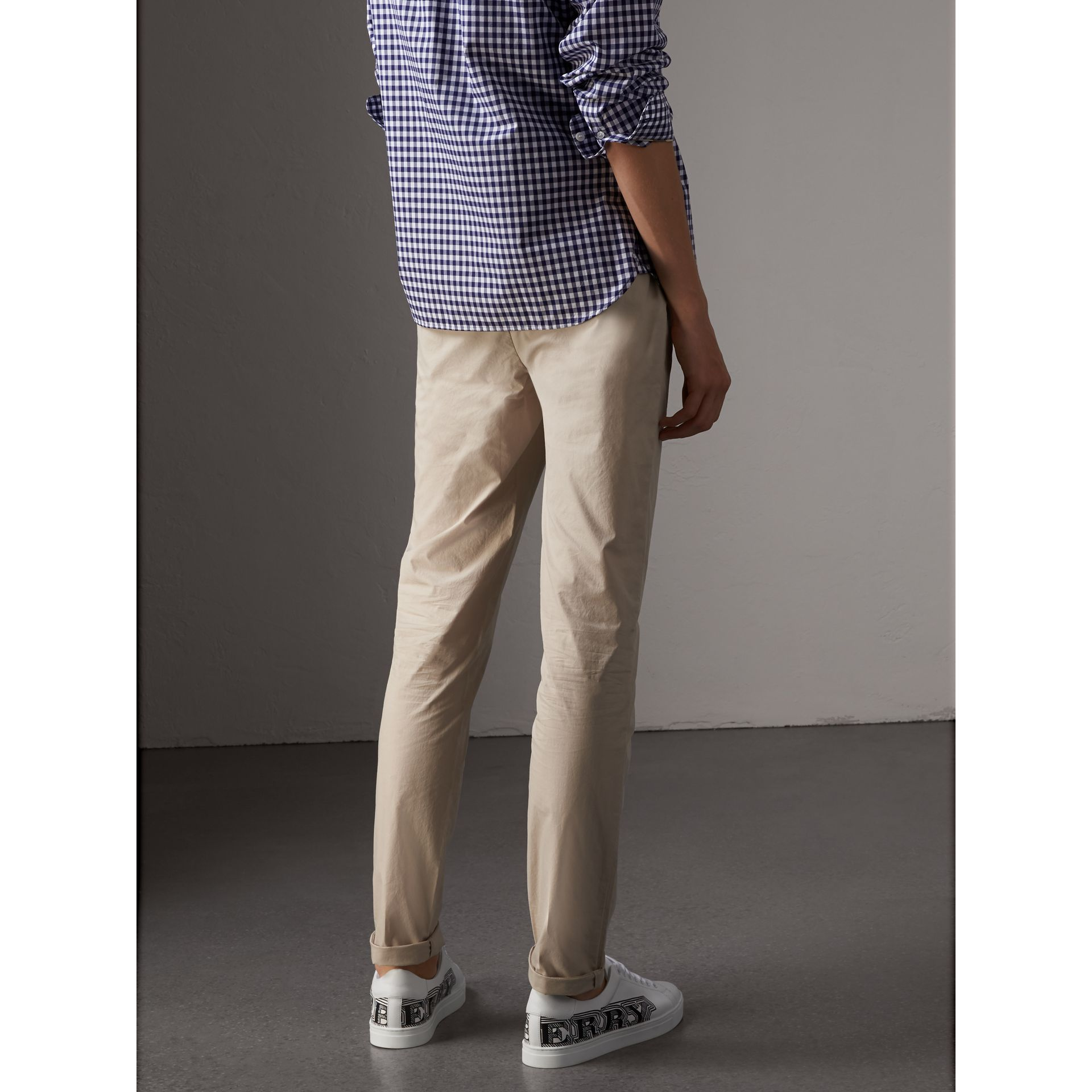 Slim Fit Cotton Poplin Chinos in Stone - Men | Burberry - gallery image 3