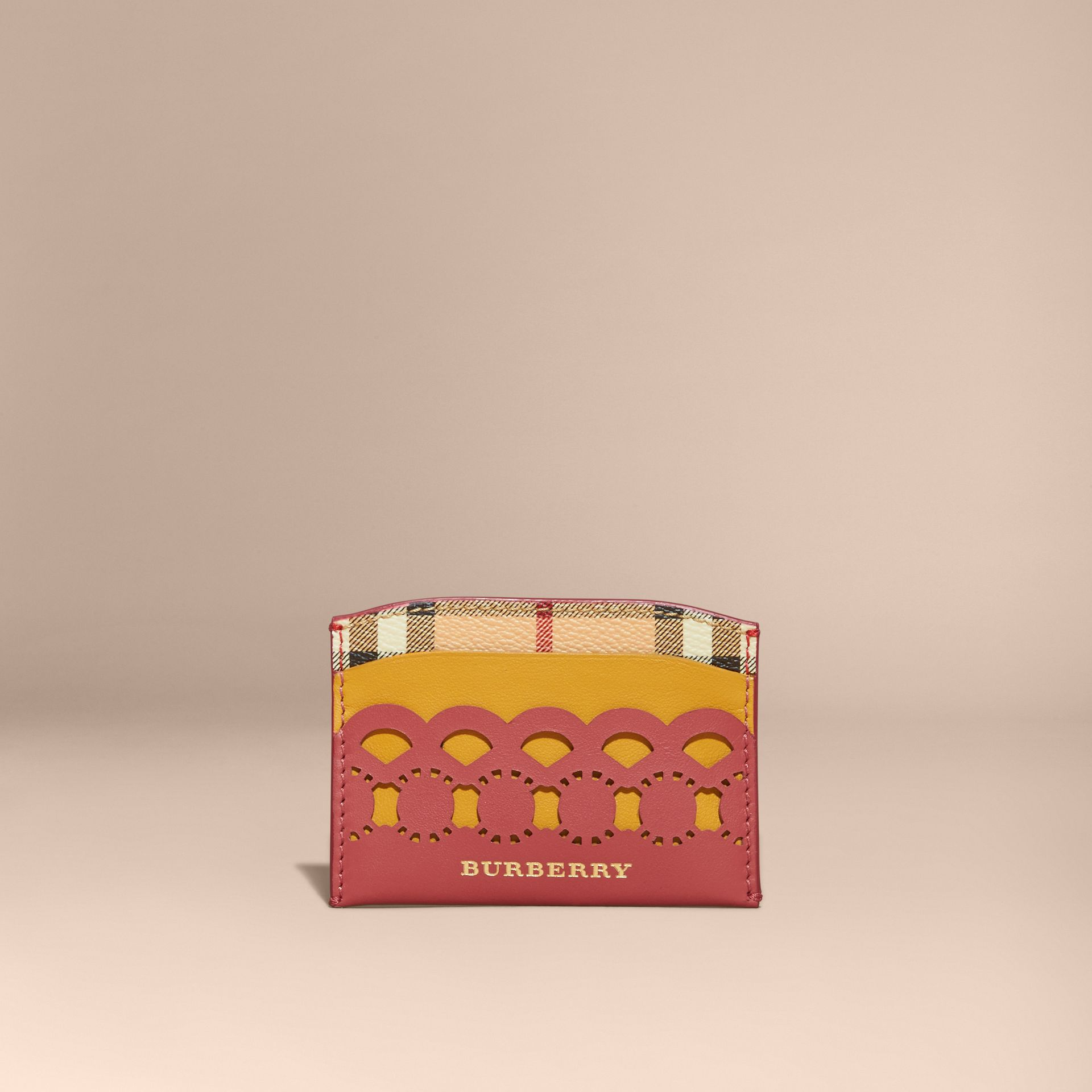 Laser-cut Leather and Haymarket Check Card Case in Antique Rose - Women | Burberry - gallery image 6