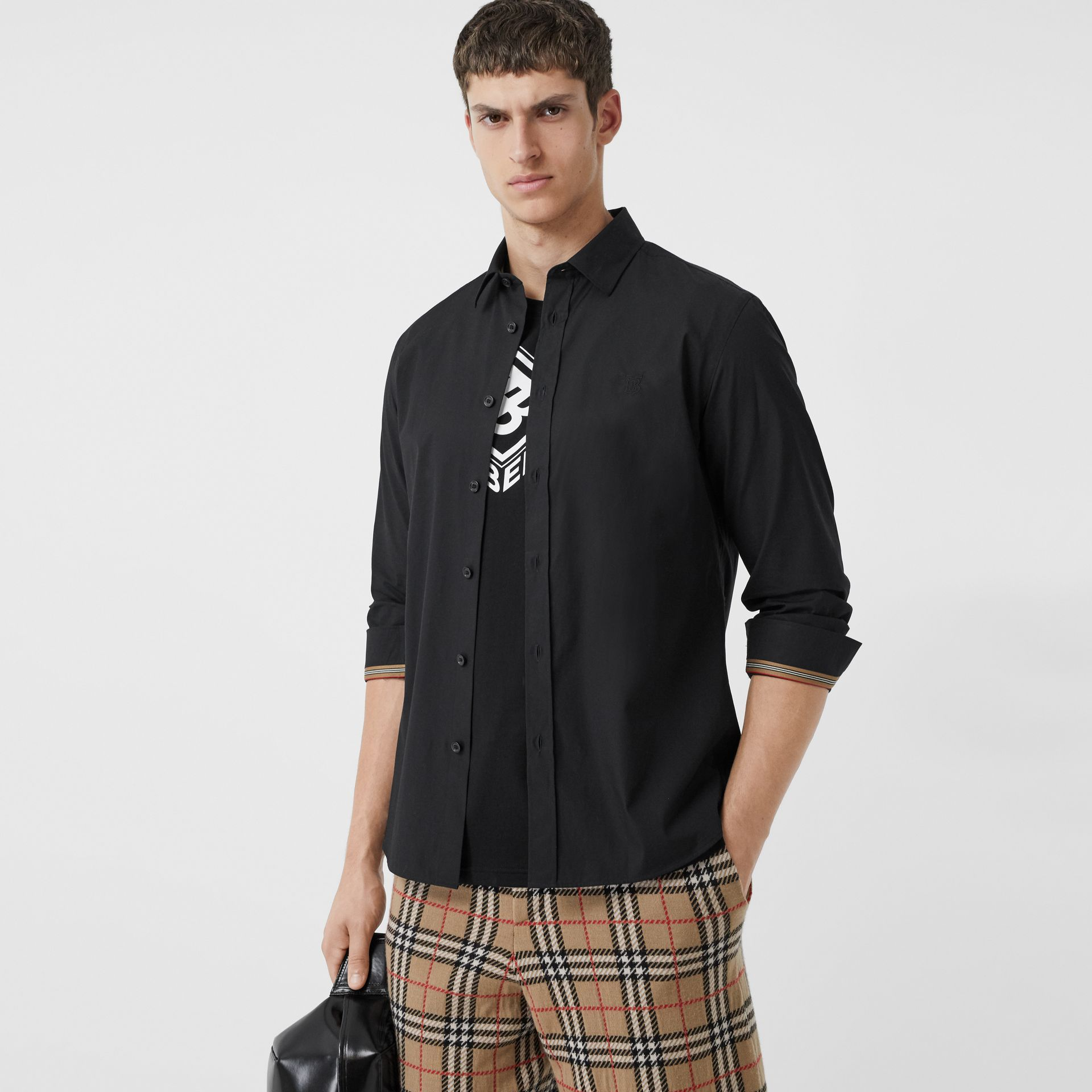 Monogram Motif Stretch Cotton Poplin Shirt in Black - Men | Burberry - gallery image 5