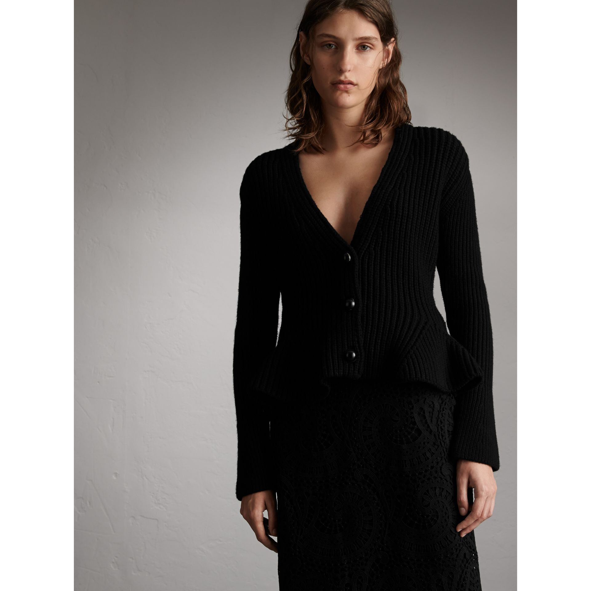 Knitted Wool Cashmere Blend Peplum Jacket in Black - Women | Burberry - gallery image 5
