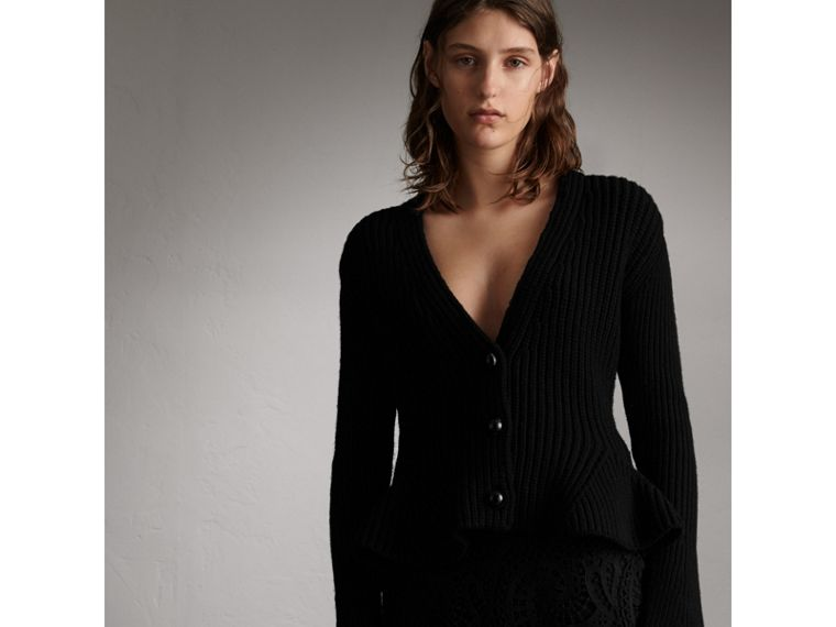 Knitted Wool Cashmere Blend Peplum Jacket in Black - Women | Burberry - cell image 4