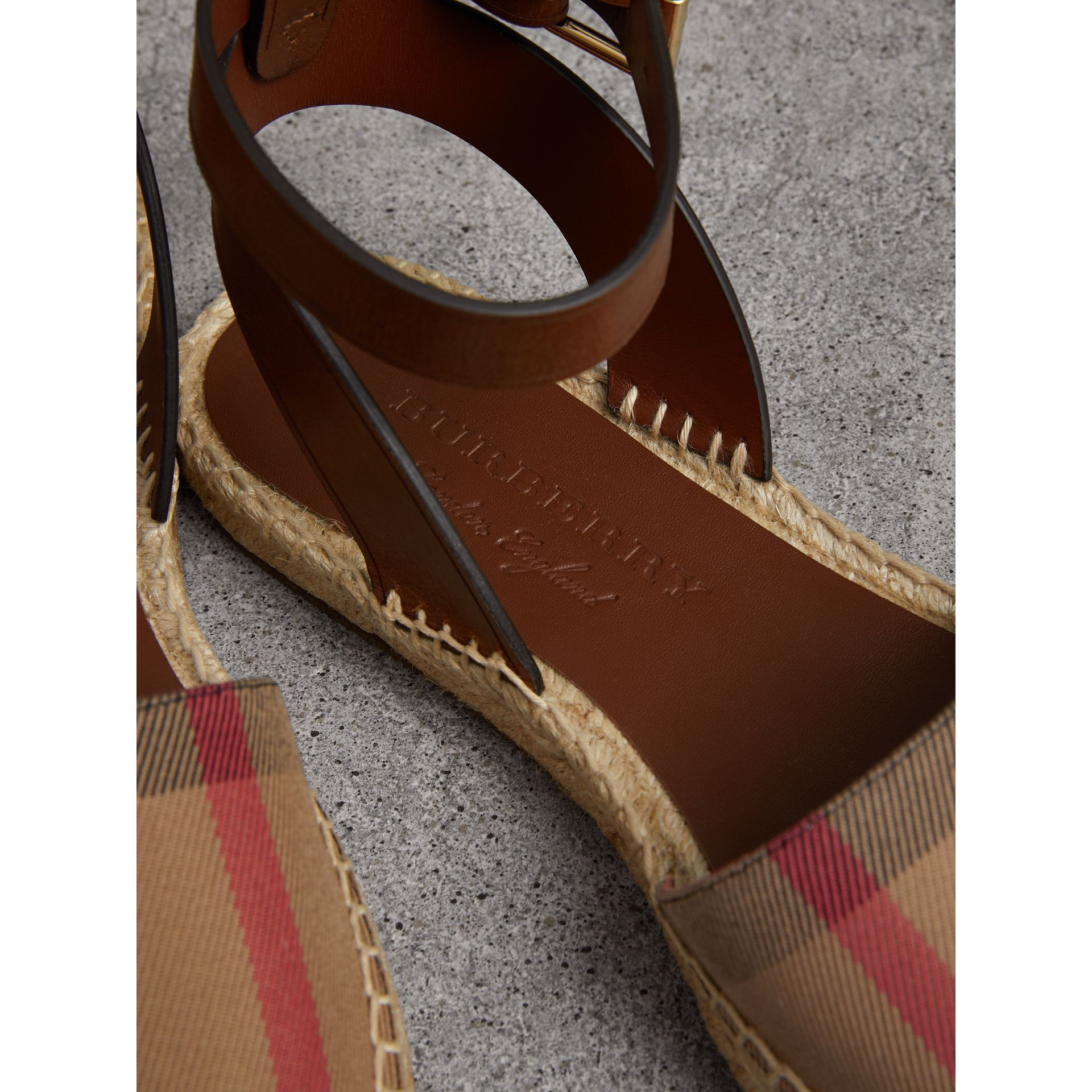 Leather and House Check Espadrille Sandals in Dark Tan - Women | Burberry Singapore - gallery image 1