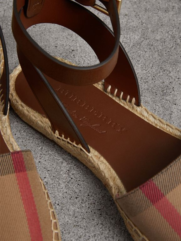 Leather and House Check Espadrille Sandals in Dark Tan - Women | Burberry Singapore - cell image 1