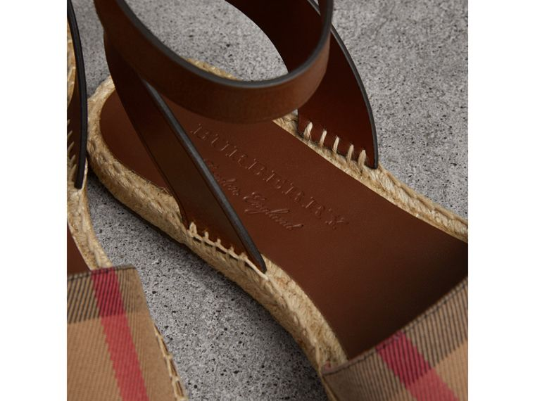 Leather and House Check Espadrille Sandals in Dark Tan - Women | Burberry Australia - cell image 1