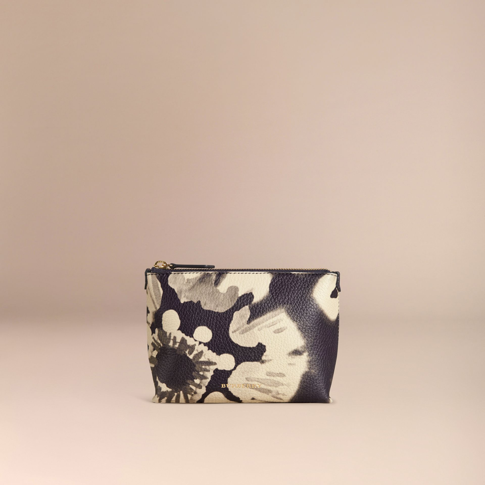 Stone Medium Floral Tie-dye Grainy Leather Beauty Pouch Stone - gallery image 3