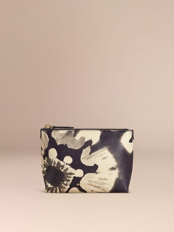 Stone Medium Floral Tie-dye Grainy Leather Beauty Pouch Stone - cell image 2
