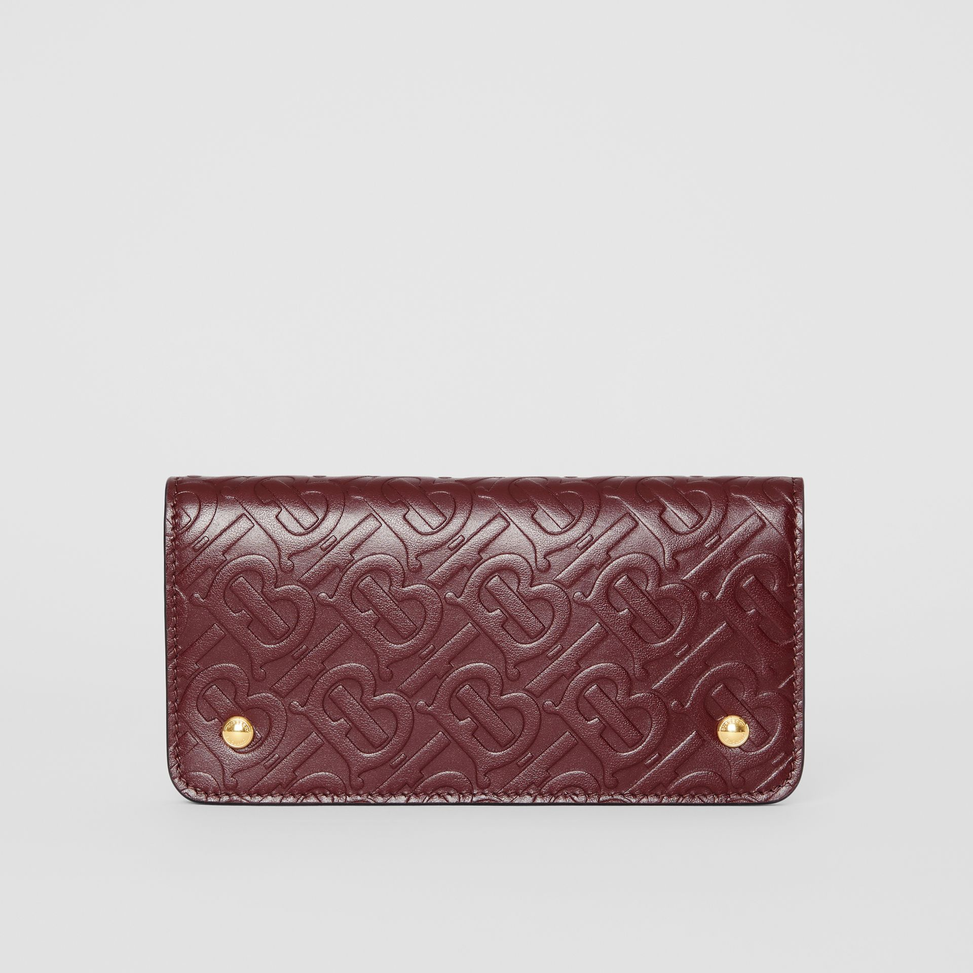Monogram Leather Phone Wallet in Oxblood - Women | Burberry United Kingdom - gallery image 0