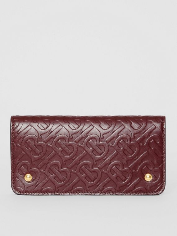 Monogram Leather Phone Wallet in Oxblood