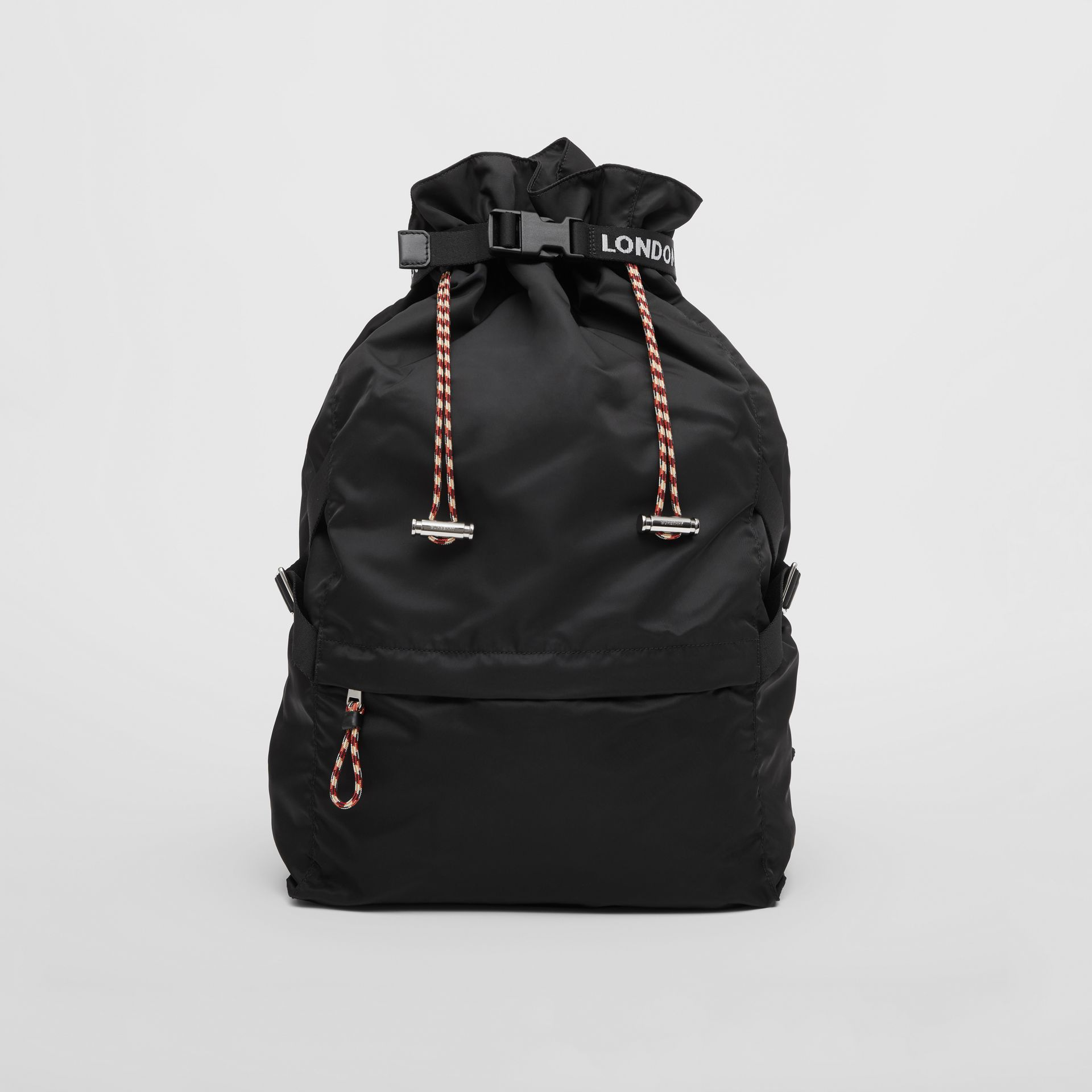 Logo Detail Nylon Drawcord Backpack in Black - Men | Burberry - gallery image 0