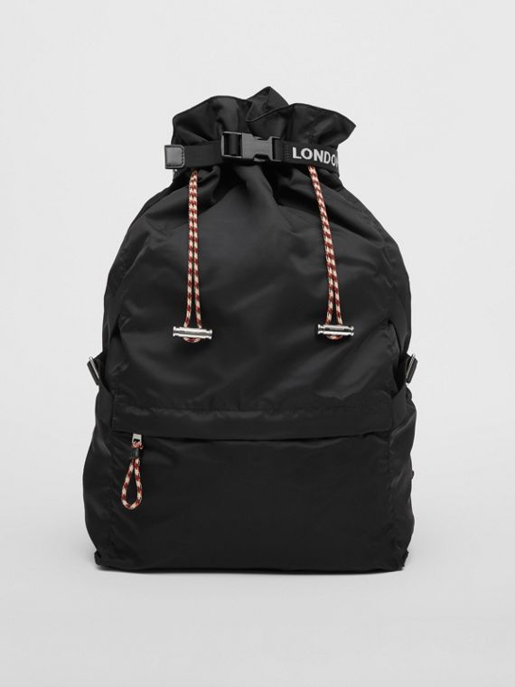 Logo Detail Nylon Drawcord Backpack in Black