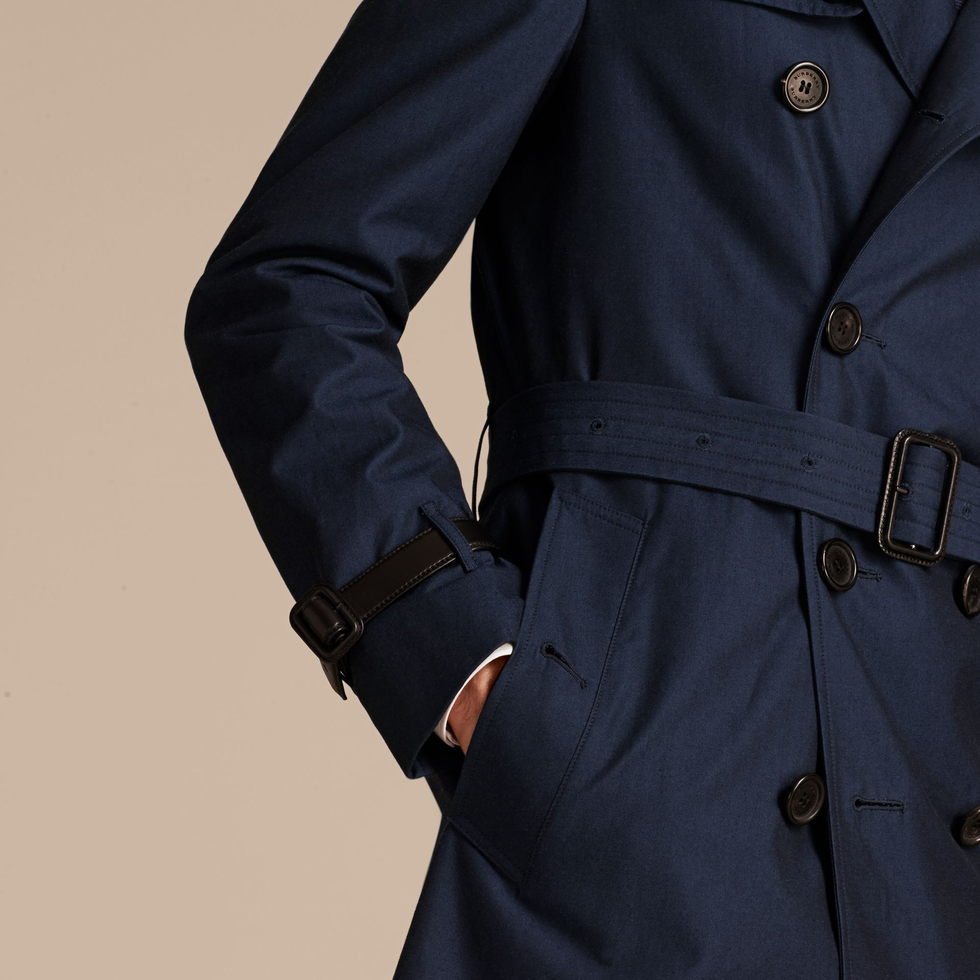 Flint blue Leather Detail Cotton Gabardine Trench Coat - gallery image 5