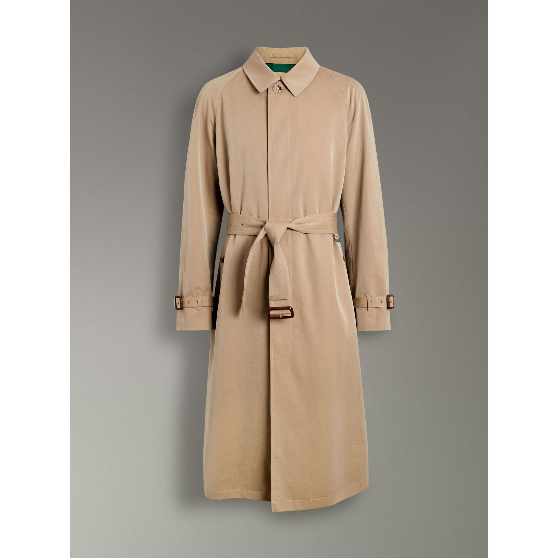 Archive-print-lined Tropical Gabardine Car Coat in Camel - Men | Burberry Singapore - gallery image 3