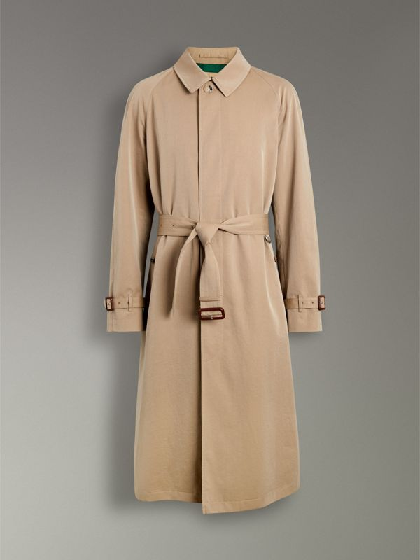 Archive-print-lined Tropical Gabardine Car Coat in Camel - Men | Burberry Singapore - cell image 3