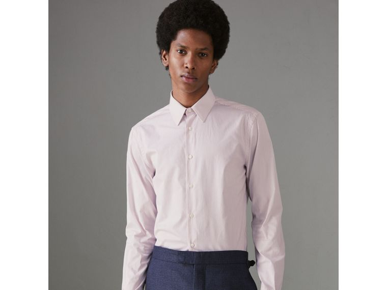 Slim Fit Striped Cotton Poplin Shirt in Burgundy - Men | Burberry Singapore - cell image 4