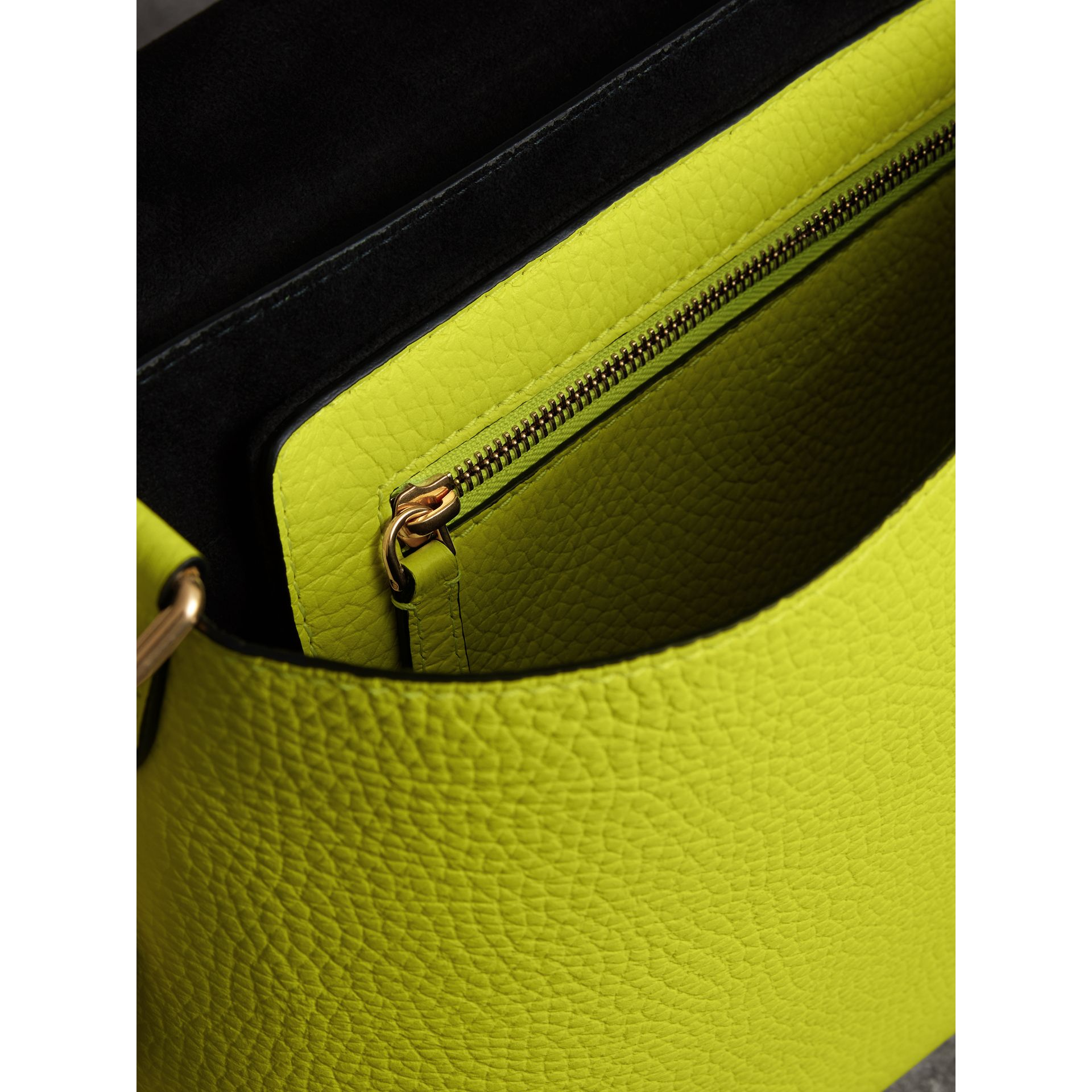 Medium Embossed Leather Messenger Bag in Neon Yellow | Burberry - gallery image 6