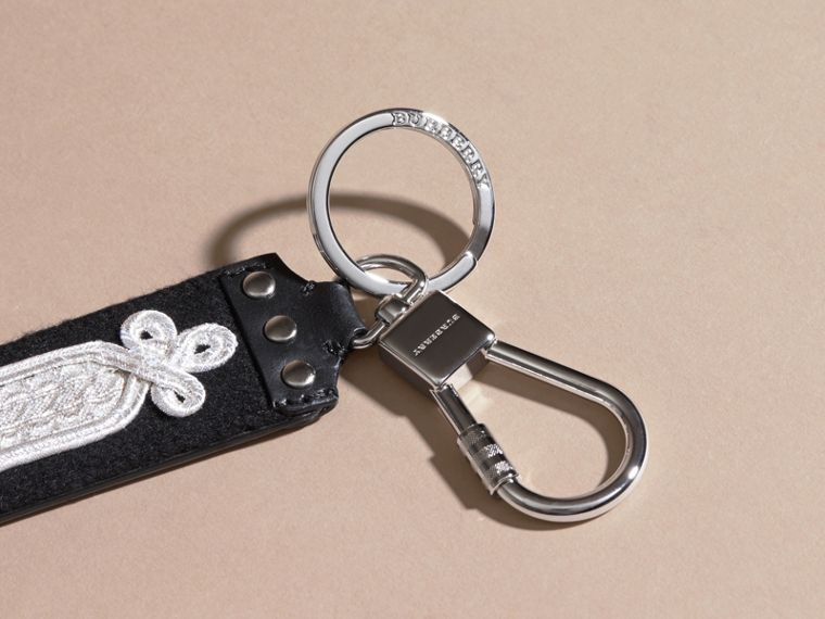 Embroidered Leather Key Ring - cell image 1