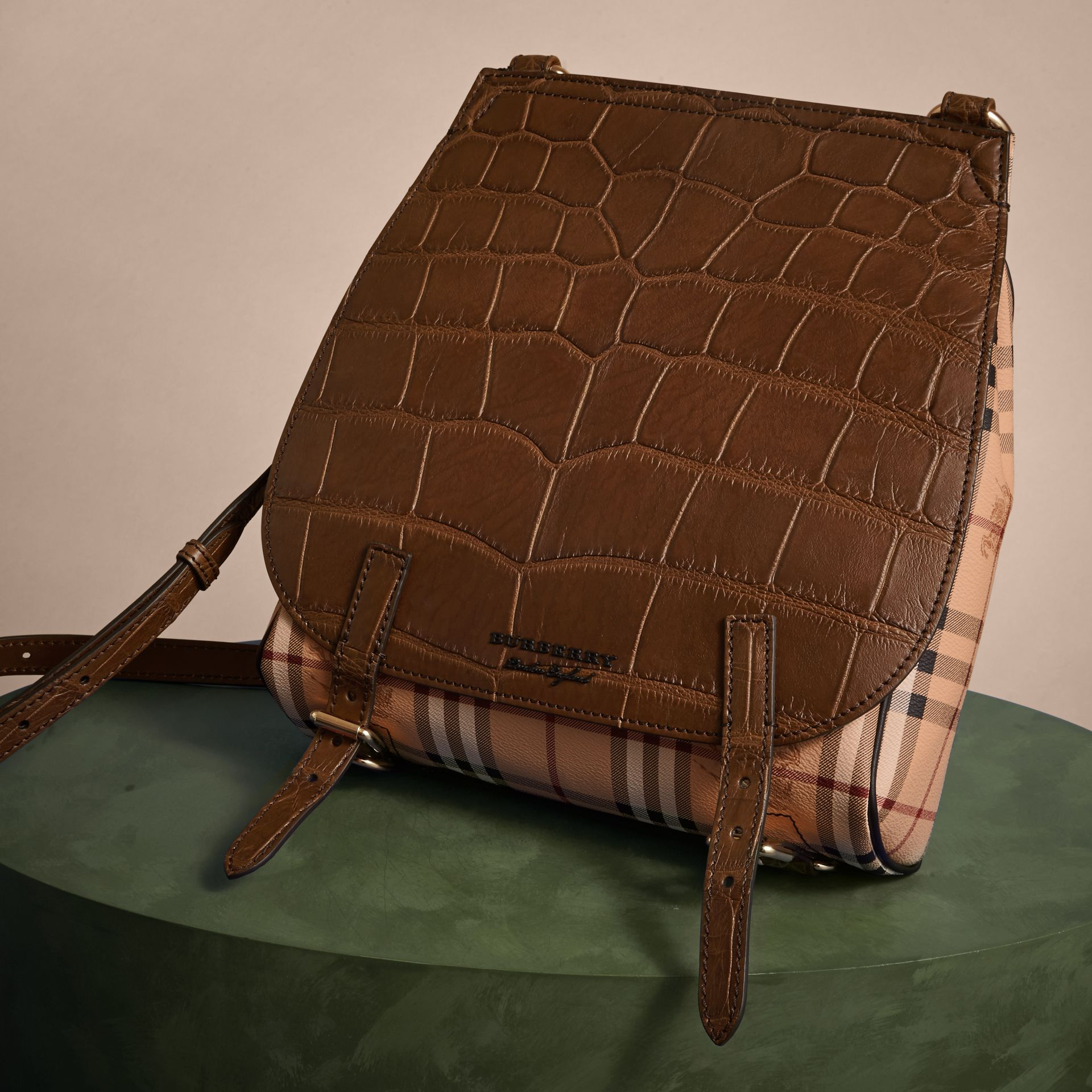 Russet brown The Small Bridle Bag in Alligator and Haymarket Check - gallery image 7