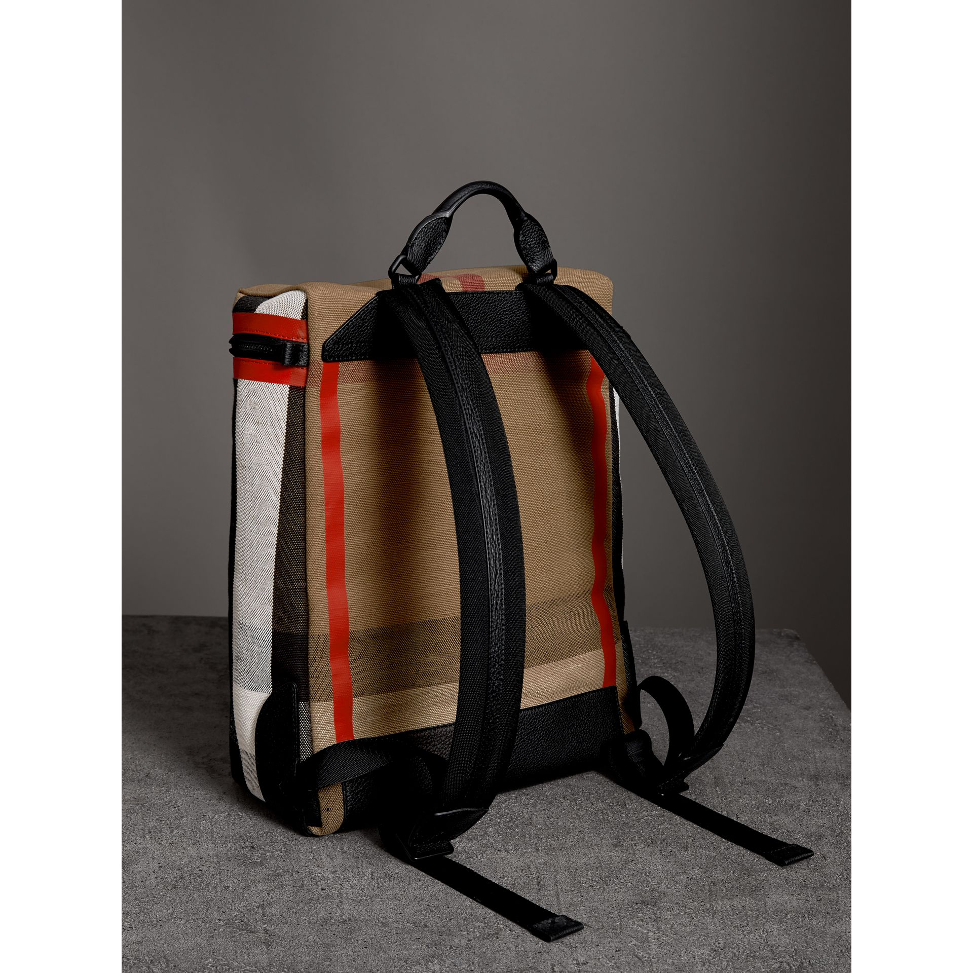 Zip-top Leather Trim Canvas Check Backpack in Military Red/camel - Men | Burberry - gallery image 2