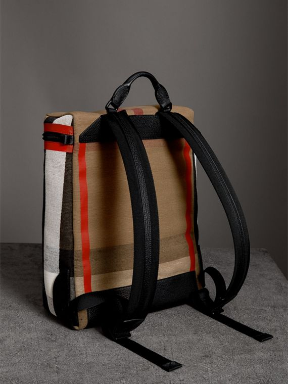 Zip-top Leather Trim Canvas Check Backpack in Military Red/camel - Men | Burberry - cell image 2