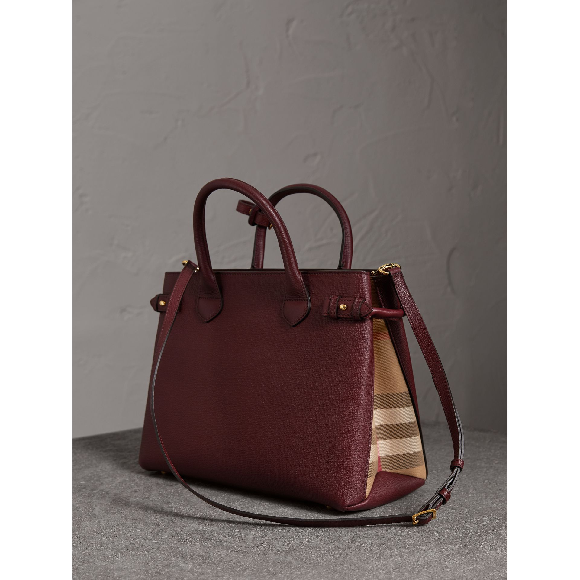 The Medium Banner in Leather and House Check in Mahogany Red - Women | Burberry United States - gallery image 4