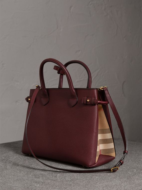The Medium Banner in Leather and House Check in Mahogany Red - Women | Burberry United States - cell image 3
