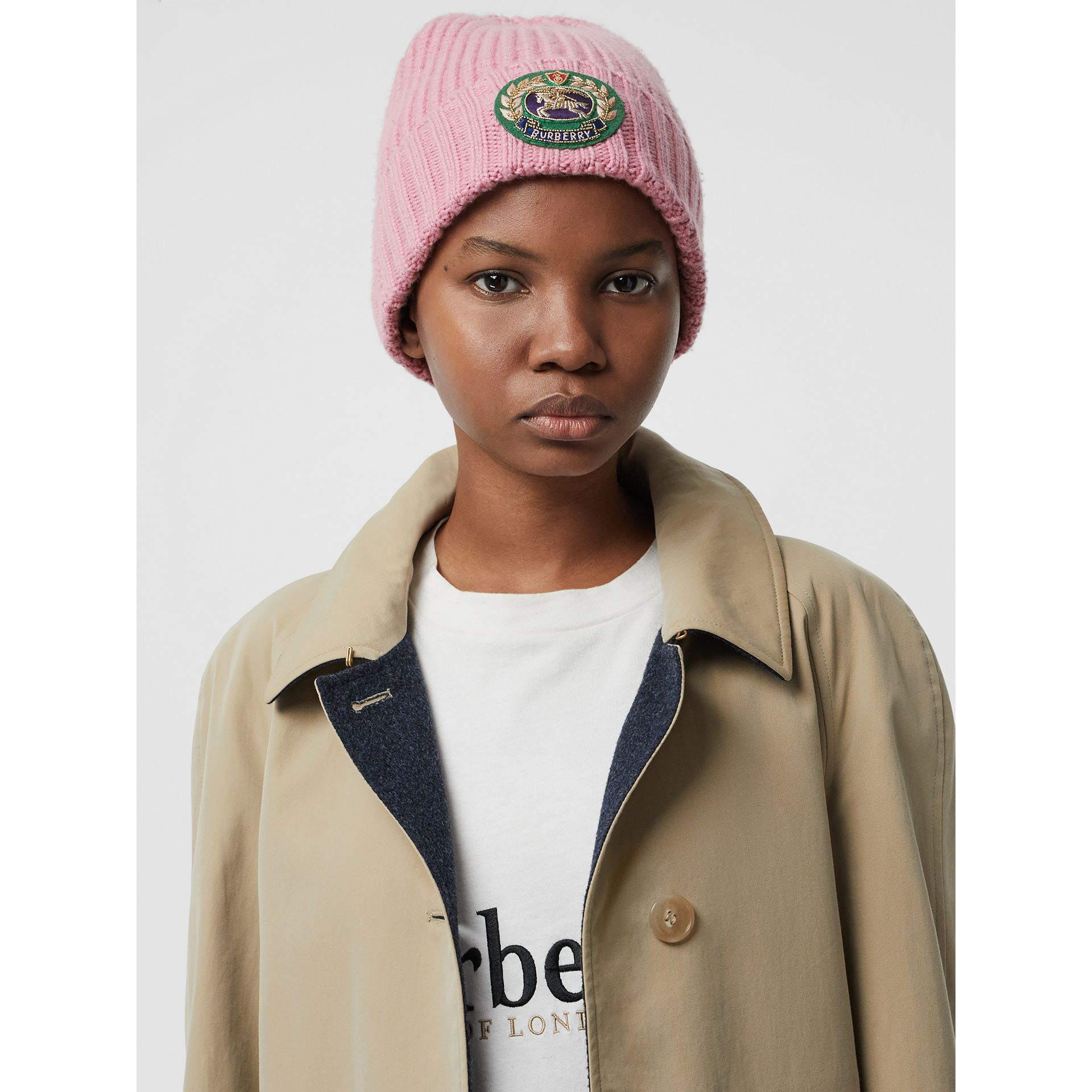 Embroidered Crest Rib Knit Wool Cashmere Beanie in Rose Pink | Burberry United States - gallery image 2