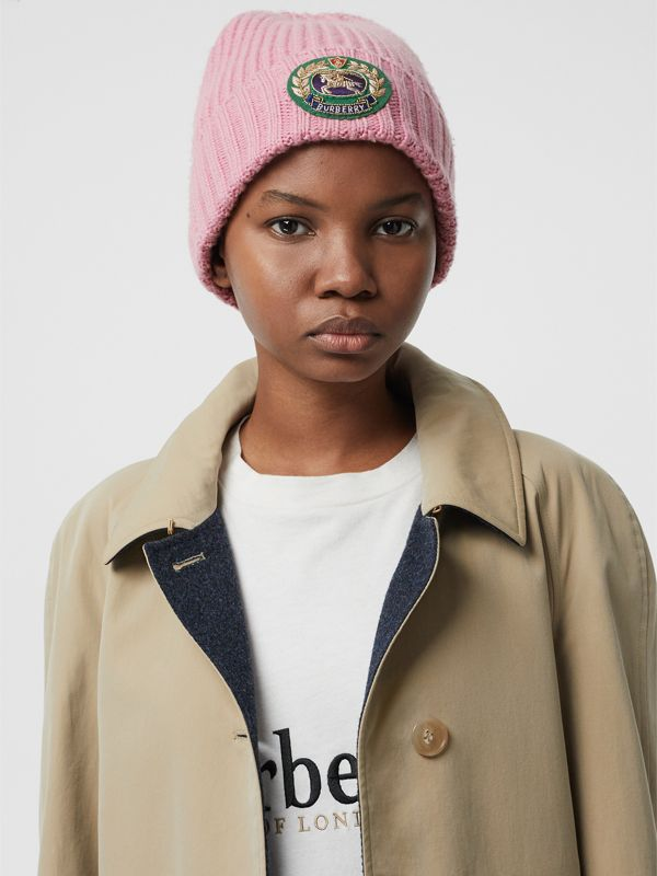Embroidered Crest Rib Knit Wool Cashmere Beanie in Rose Pink | Burberry - cell image 2