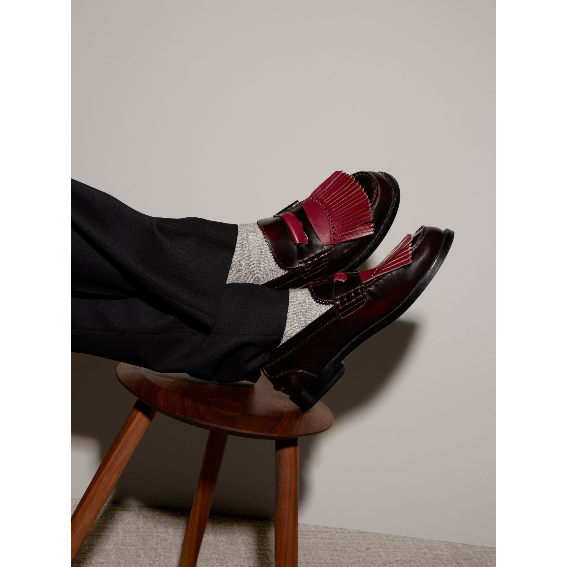 Contrast Kiltie Fringe Leather Loafers in Rust Red/red Claret - Men | Burberry United Kingdom - gallery image 2
