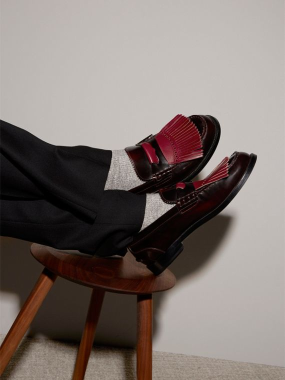 Contrast Kiltie Fringe Leather Loafers in Rust Red/red Claret - Men | Burberry Australia - cell image 2