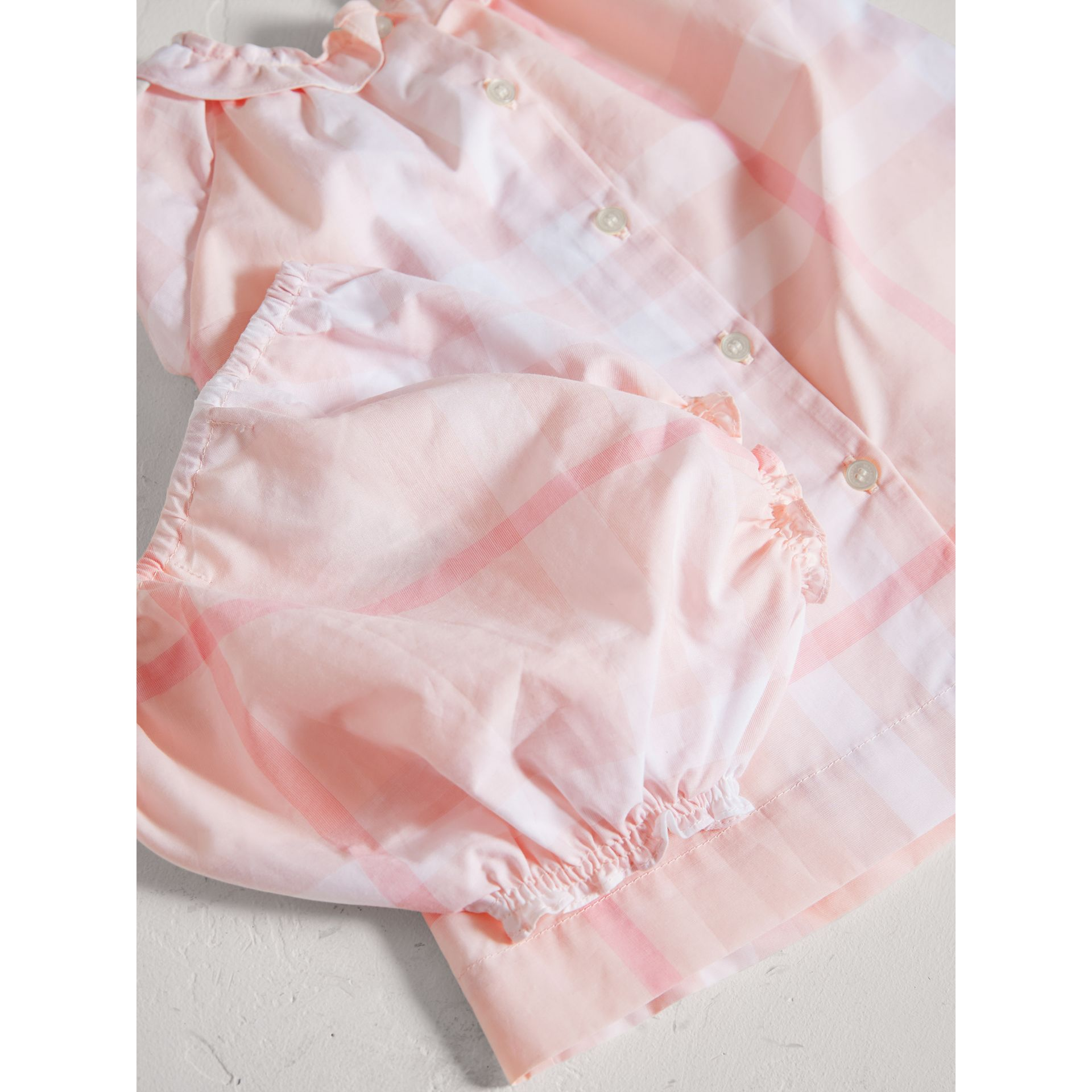 Check Cotton Poplin Dress with Bloomers in Ice Pink | Burberry - gallery image 1