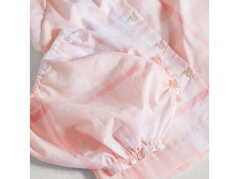 Check Cotton Poplin Dress with Bloomers in Ice Pink | Burberry - cell image 1