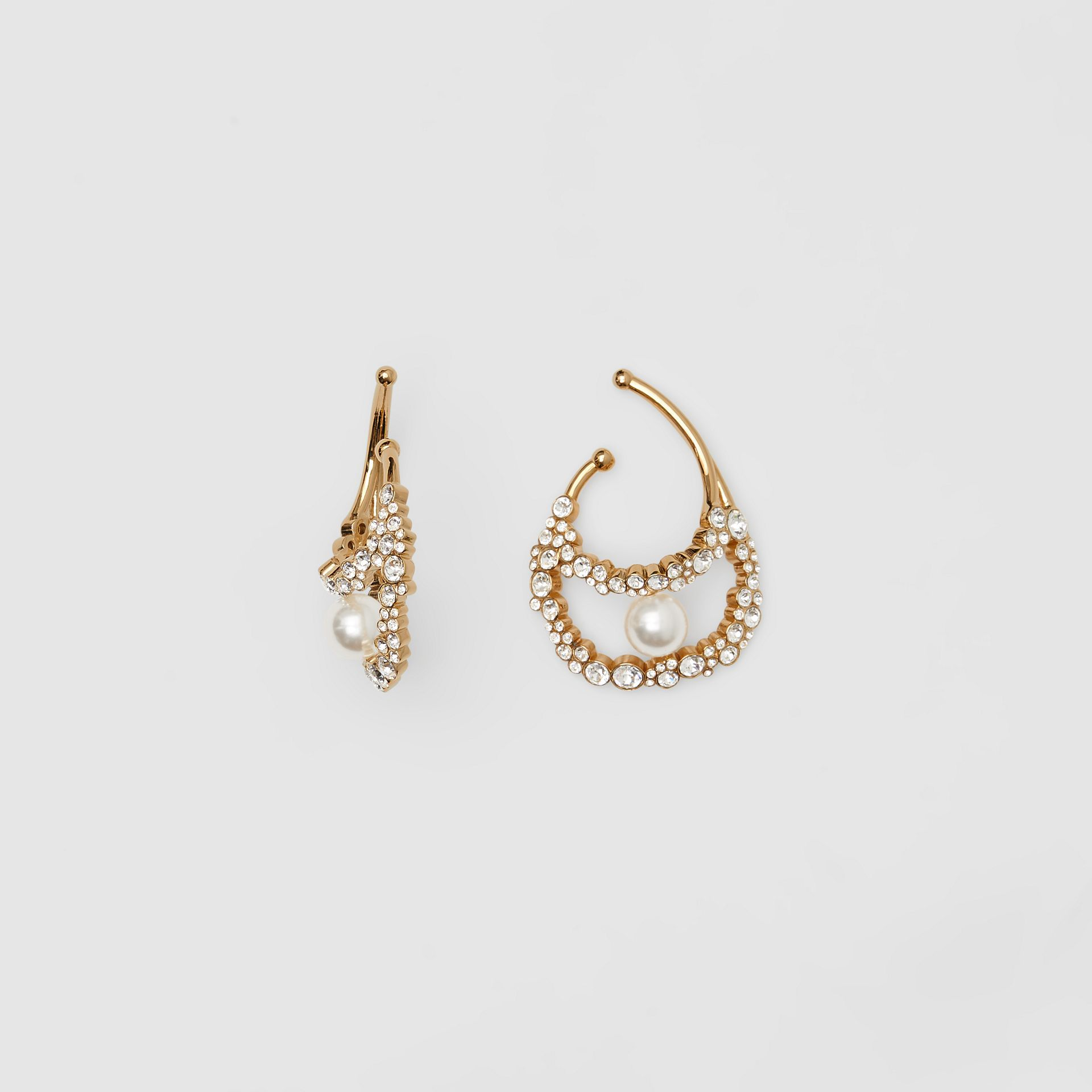 Resin Pearl Detail Crystal Gold-plated Ear Cuff in Light Gold/crystal - Women | Burberry Australia - gallery image 2