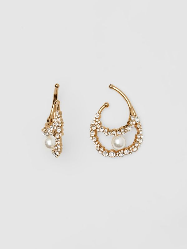 Resin Pearl Detail Crystal Gold-plated Ear Cuff in Light Gold/crystal - Women | Burberry Australia - cell image 2
