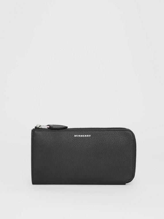 Portefeuille zippé avec porte-monnaie en cuir bicolore (Noir)