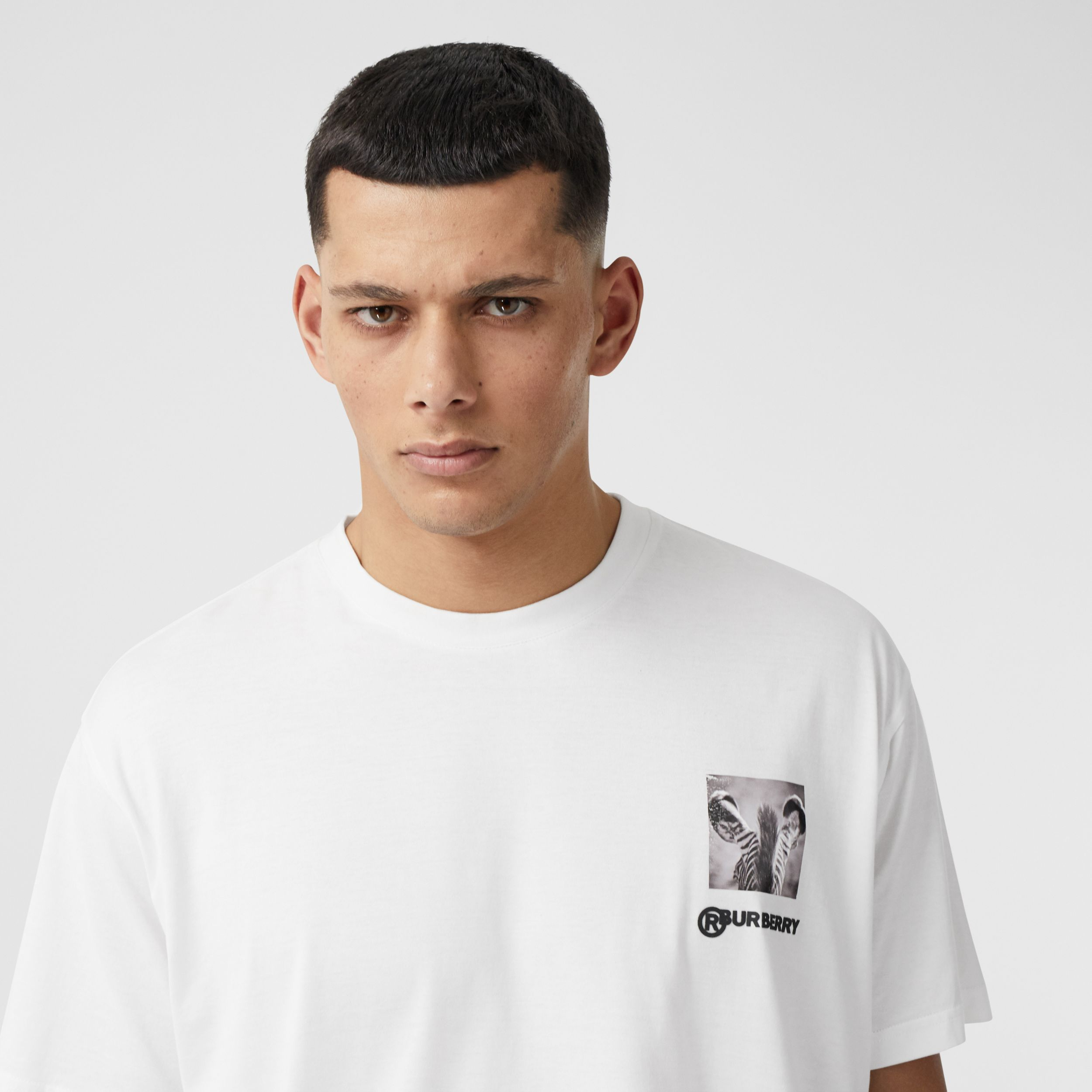 Montage Print Cotton Oversized T-shirt in Optic White - Men | Burberry - 2