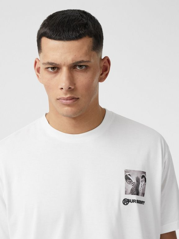 Montage Print Cotton Oversized T-shirt in Optic White | Burberry - cell image 1