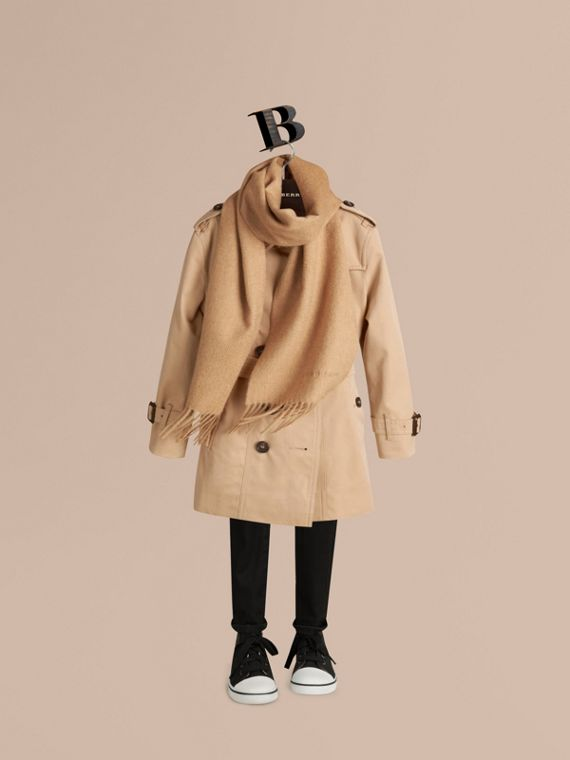 The Mini Classic Cashmere Scarf in Camel | Burberry Australia - cell image 2