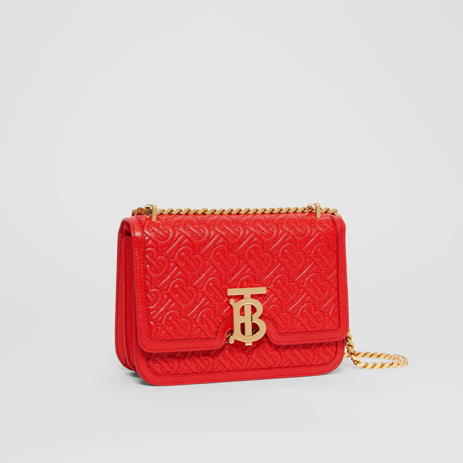Small Quilted Monogram Leather TB Bag in Bright Red - Women | Burberry United States - gallery image 6