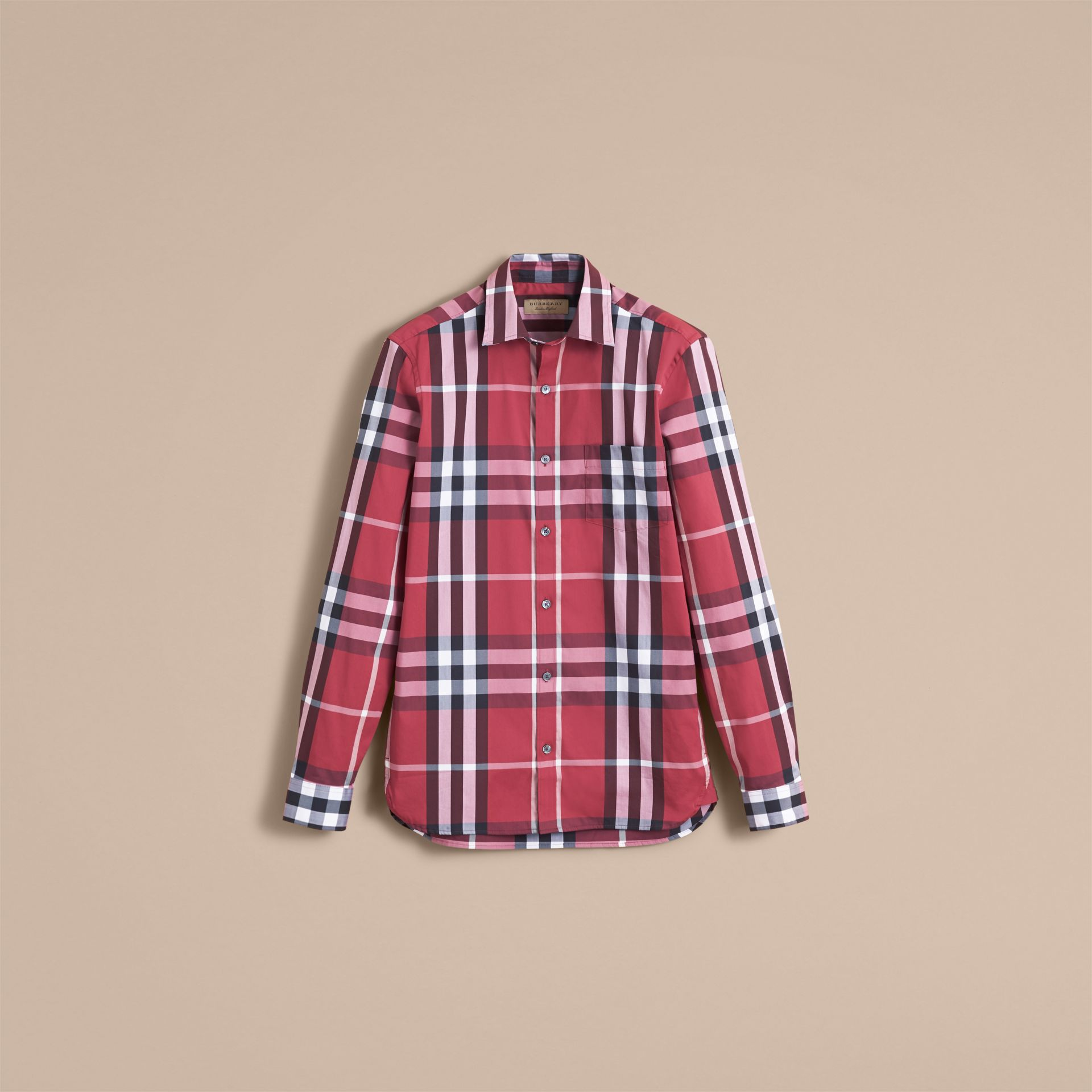 Check Stretch Cotton Shirt in Plum Pink - Men | Burberry Canada - gallery image 4