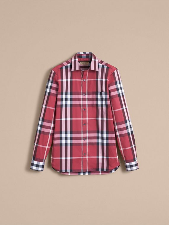 Check Stretch Cotton Shirt in Plum Pink - Men | Burberry Canada - cell image 3