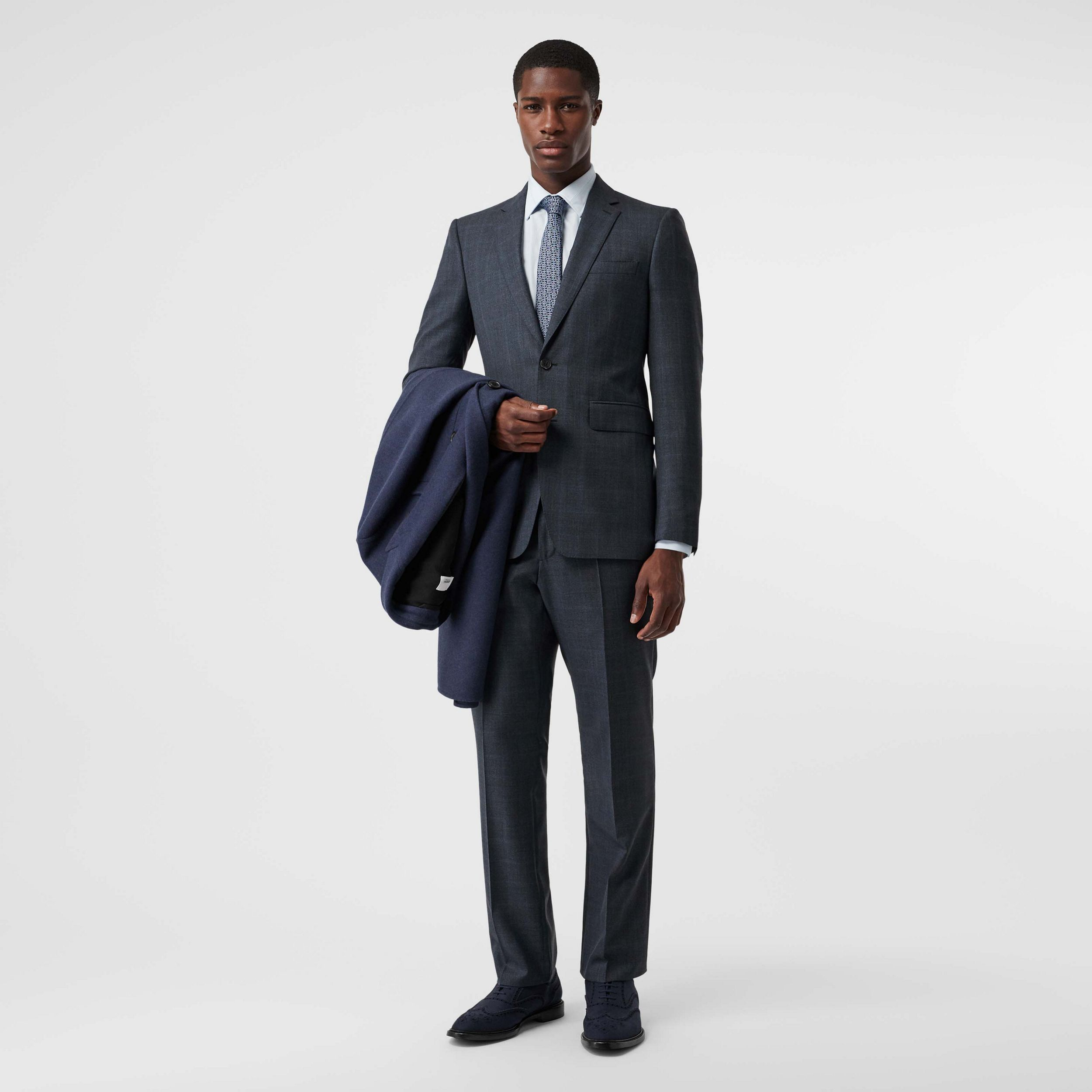 Classic Fit Windowpane Check Wool Suit in Light Navy - Men | Burberry - 1